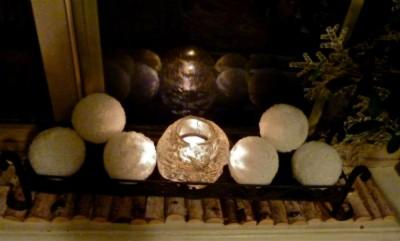 Candlemass votive amid snowballs