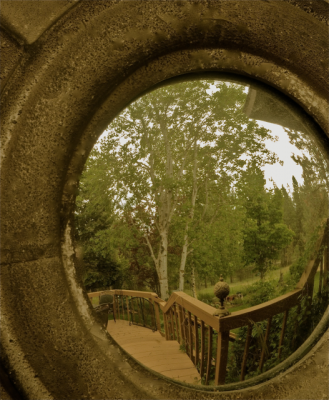Convex mirror in weathered metal frame reflects steps leading to lush forest