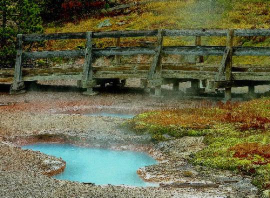 Hot spring with bridge