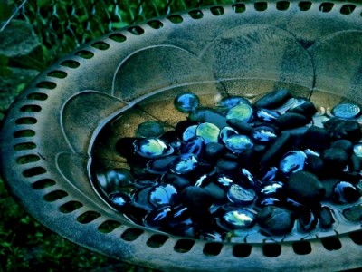 Biblio Diva birdbath with stones