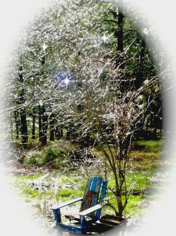 Hail storm and blue chair