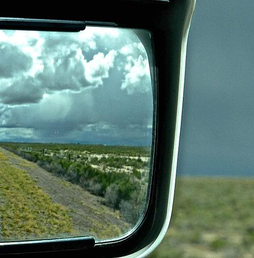 getaway, side mirror view
